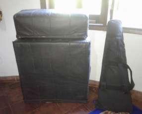 Amplificador caja acústica y guitarra