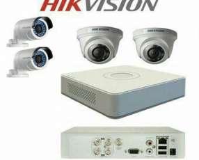 Kit de 4 Camaras Hikvision calidad HD instaladas