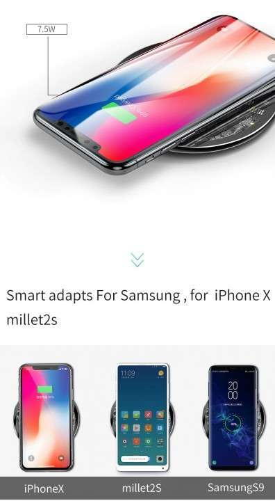 Cargador inalámbrico Qi 10W Baseus iPhone / Samsung - 5