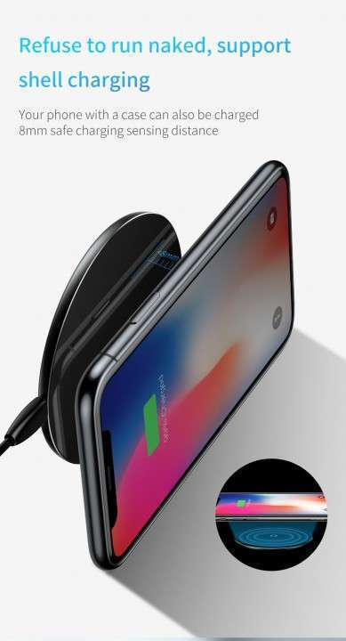Cargador inalámbrico Qi 10W Baseus iPhone Samsung - 1