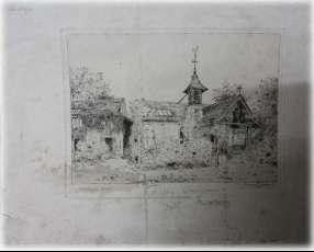 Obra de arte antigua grabado Aguafuerte