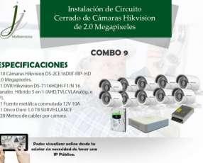 Circuito Cerrado de 10 Cámaras Hikvision con Instalación Combo 9