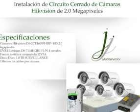 Circuito Cerrado de 5 Cámaras Hikvision con Instalación Combo 4