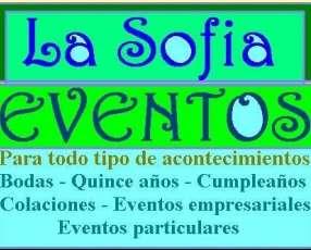 Sofia eventos Bodas, Quince años, Cumpleaños, Colaciones.