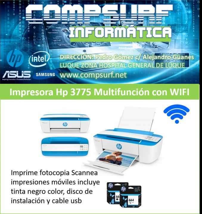 Impresora hp multifunción con wifi compacta 3775 - 0