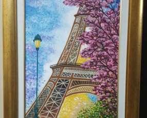 Cuadro pintado torre Eiffel 80x60