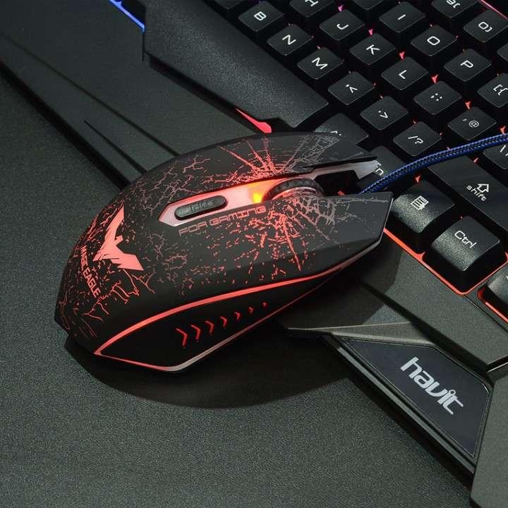 Teclado y mouse gamer usb con luces Havit 558cm - 3
