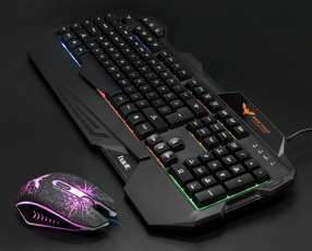 Teclado y mouse gamer usb con luces Havit 558cm