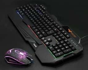 Teclado y mouse gamer usb con luces Havit 558cm