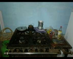 Cocina industrial doble fuego 4 hornallas
