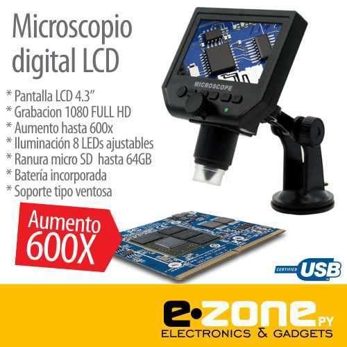 Microscopio cámara digital x600 Pantalla LCD 4.3 - 0