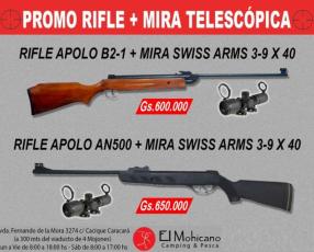 Rifle aire comprimido y mira telescópica