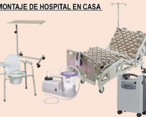 Cama hospitalaria silla de ruedas muleta y balón de oxigeno
