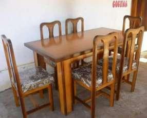 Juego de comedor 6 sillas tapizadas