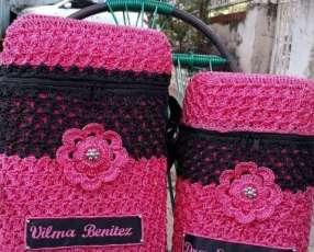 Bolsos en crochet forrados