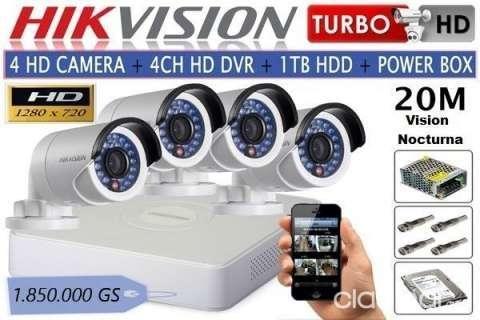 Kit 4 cámaras hikvision instaladas garantía 18 meses - 1