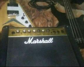 Bajo ESP LTD y guitarra electrica freeman FlayingV y amplificador Marshall mg 15