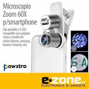 Lente óptico microscopio 60X clip led