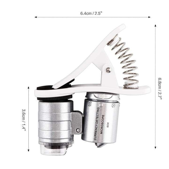 Lente óptico microscopio 60X clip led - 6