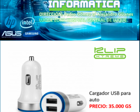 Cargador USB doble para automóvil con luz LED