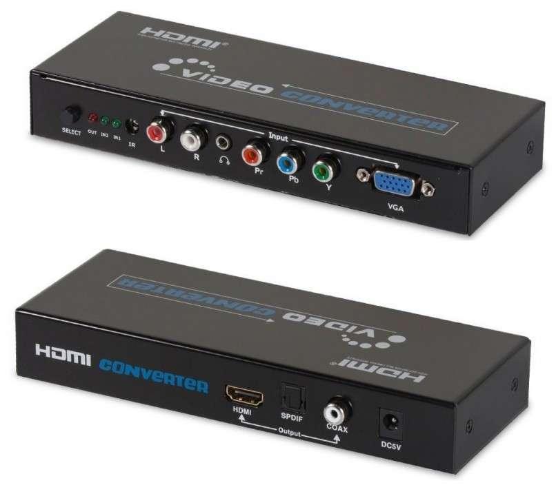 Conversor activo video componente y vga a hdmi con transformador