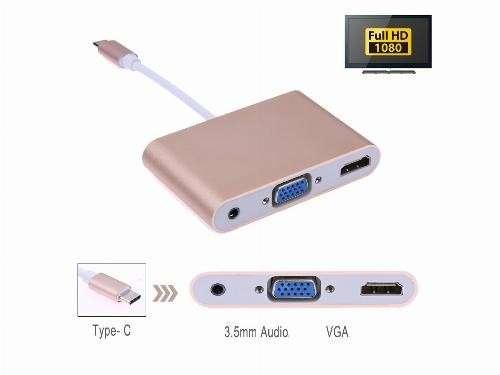 Conversor cable usb tipo C 3.1 a vga hdmi usb 2.0 audio
