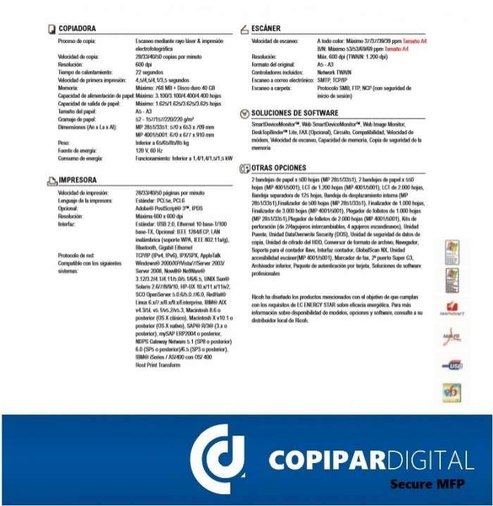 Fotocopiadoras RICOH 3351 Comerciales y Profesionales - 1