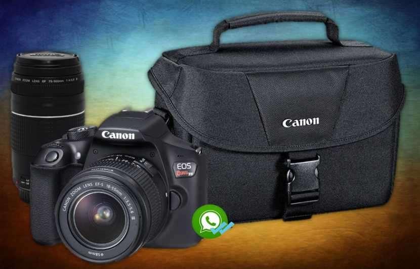Camara Canon t6 kit premium lente 18-55 mm lente 75-300 mm y maleta - 0