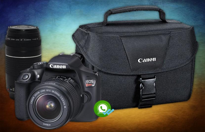 Canon t6 kit premium lente 18-55 mm lente 75-300 mm y maleta