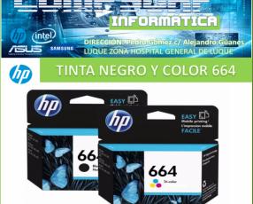 Tinta hp original 664 negro y color