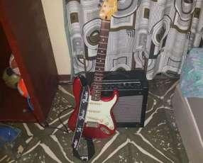 Guitarra eléctrica Fender squier stratocaster con amplificador