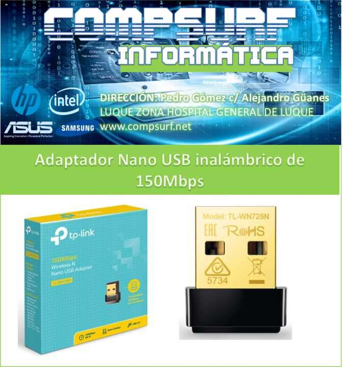 Adaptador usb nano inalámbrico N 150Mbps