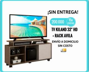 TV Kiland 32 pulgadas HD + Rack Avila