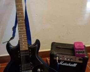 Guitarra eléctrica amplificador y pedales de efecto