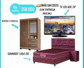 Sommier TV LED HD y ropero de 3 puertas
