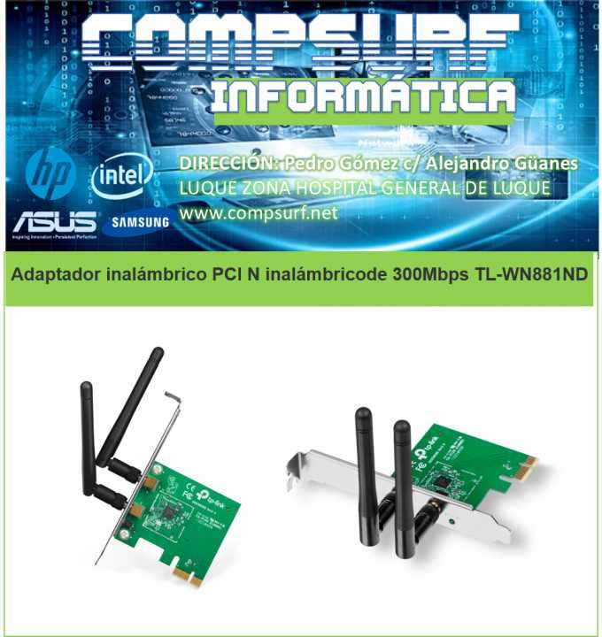 Adaptador inalámbrico PCI N inalámbrico de 300 Mbps TL-WN881N