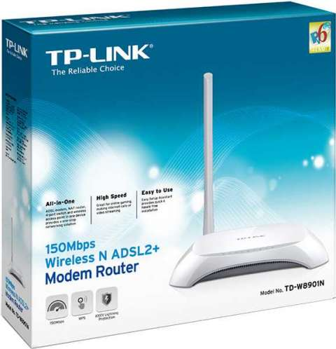 TP-Link TD-W8901N ADSL2+Módem 150 mbps