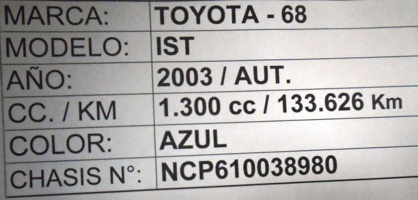 Toyota ist 2003 motor 1300 naftero automático - 8