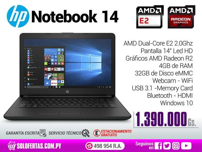 Notebook HP de 14 pulgadas