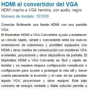 Convertidor HDMI VGA Audio manhattan - 2