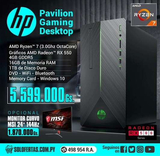 Computadora de escritorio HP pavilion gaming desktop