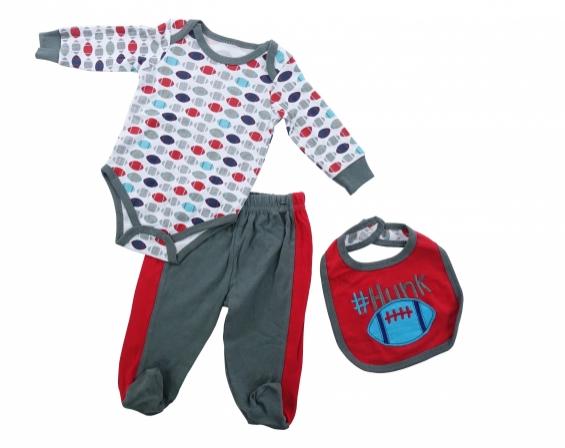 Set de Body Babero y Pantalón con Piesitos para Bebé
