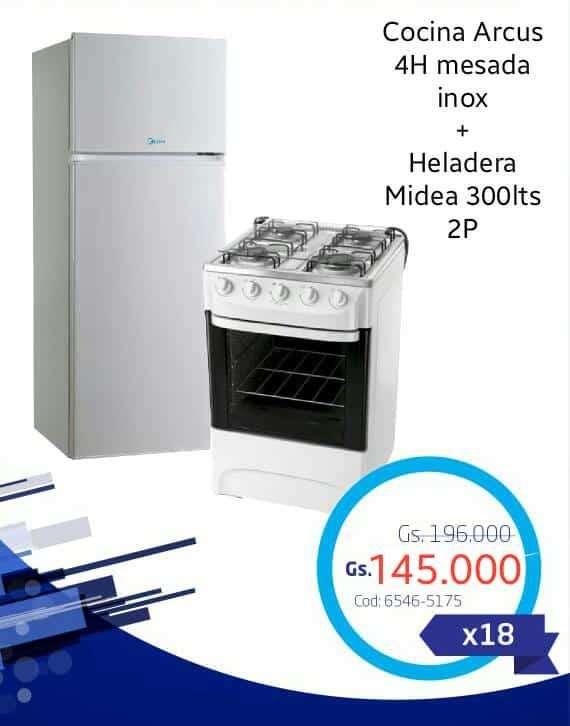 Cocina Arcus 4h y heladera Midea 300 lts