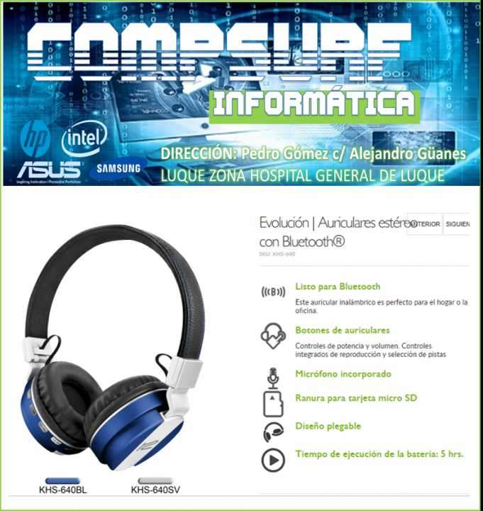 Evolución auriculares estéreo con bluetooth SKU: KHS-640 - 0