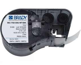Brady cart.BMP41-143372 MC-750-595-WT-BK 0.75'' X 25''