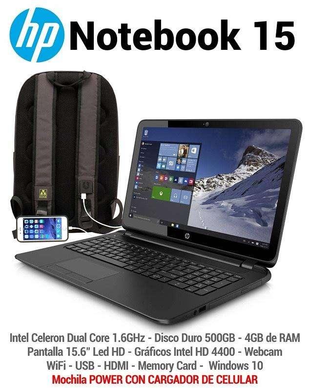 Notebook hp y mochila power