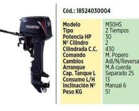 Motor F/B Tohatsu de 30 Hp Mando en Popa