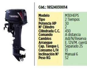 Motor F/B Tohatsu de 30 Hp Mando a distancia
