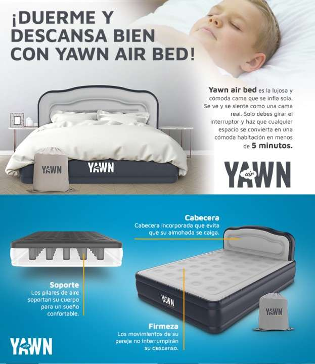 Cama inflable yawn air bed - 4