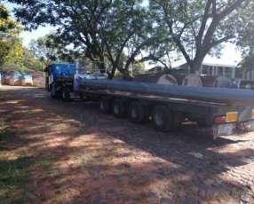 Plancha transportadora de 4 ejes direccionales extensible